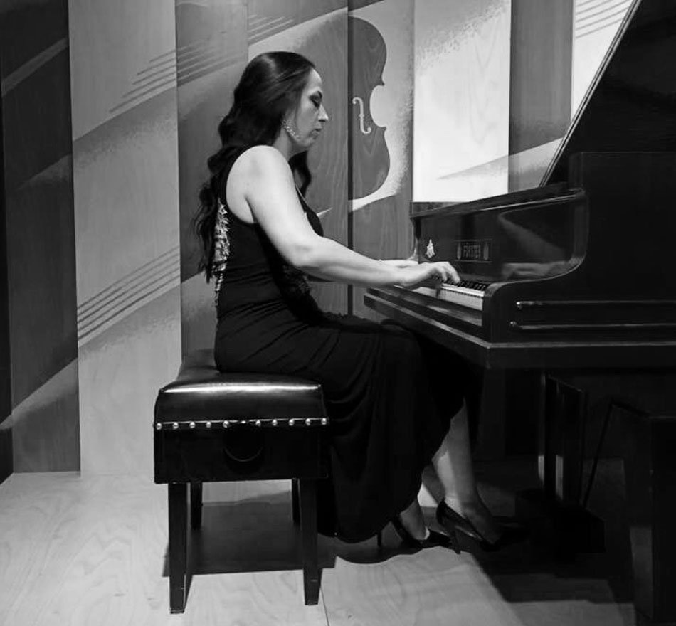 Marta Brankovich playing the piano